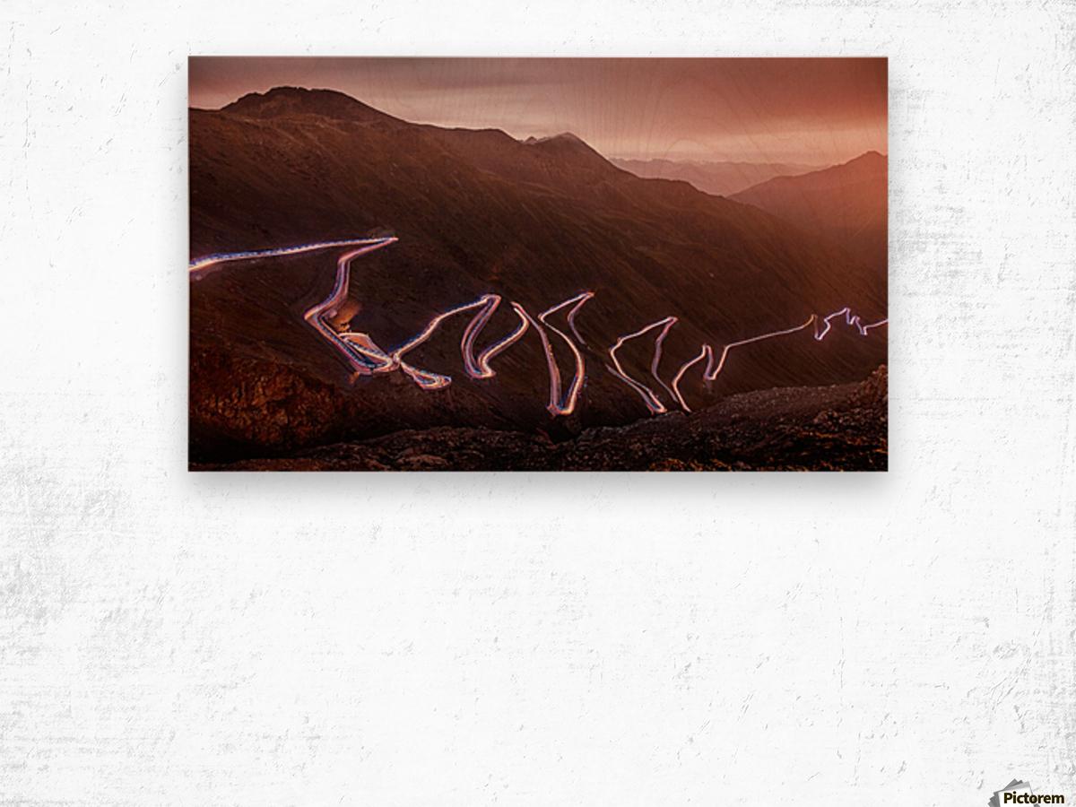 Winding light Wood print