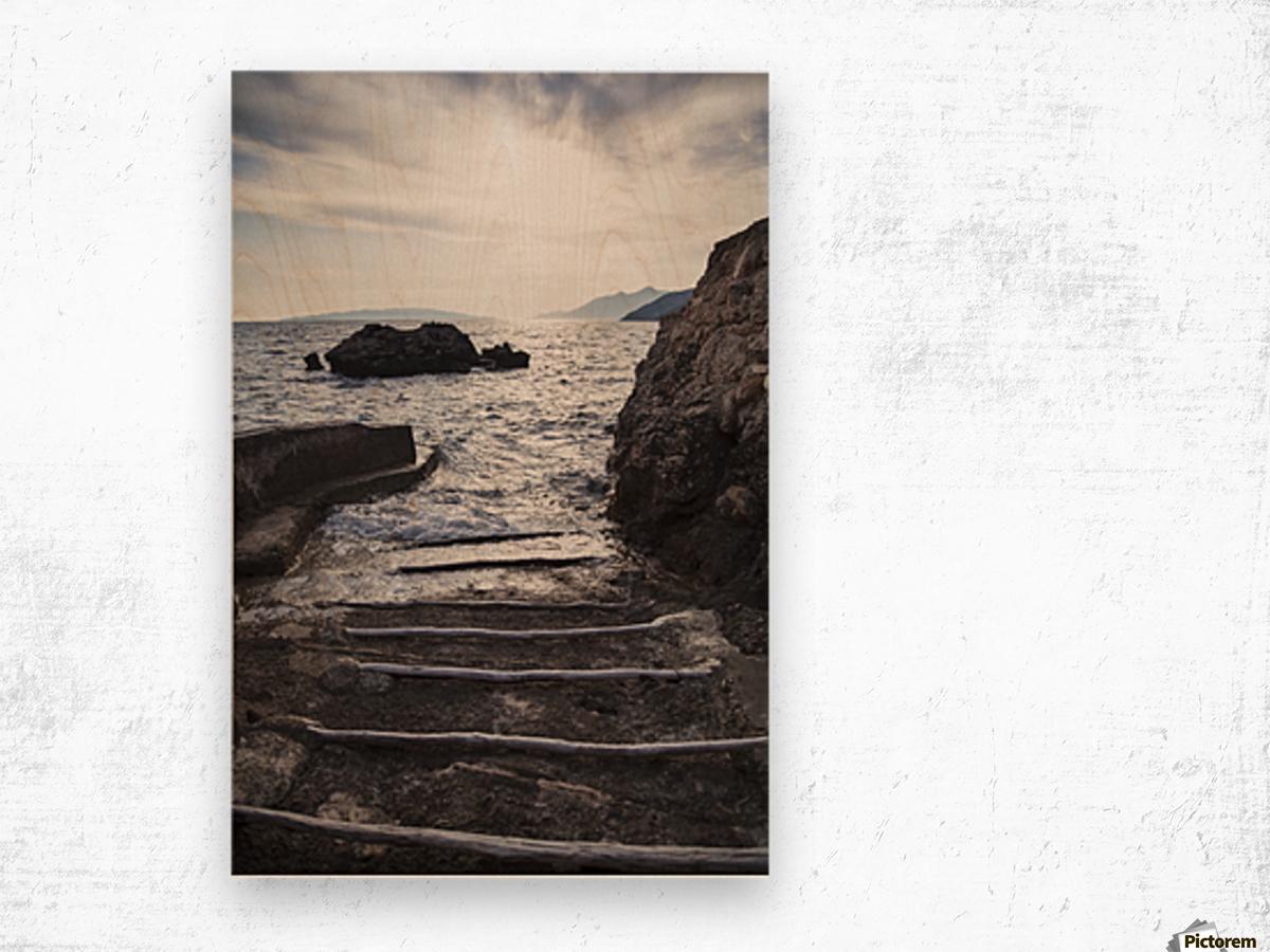 A small boat ramp along the Borak coast, near Trpanj; Borak, Croatia Wood print