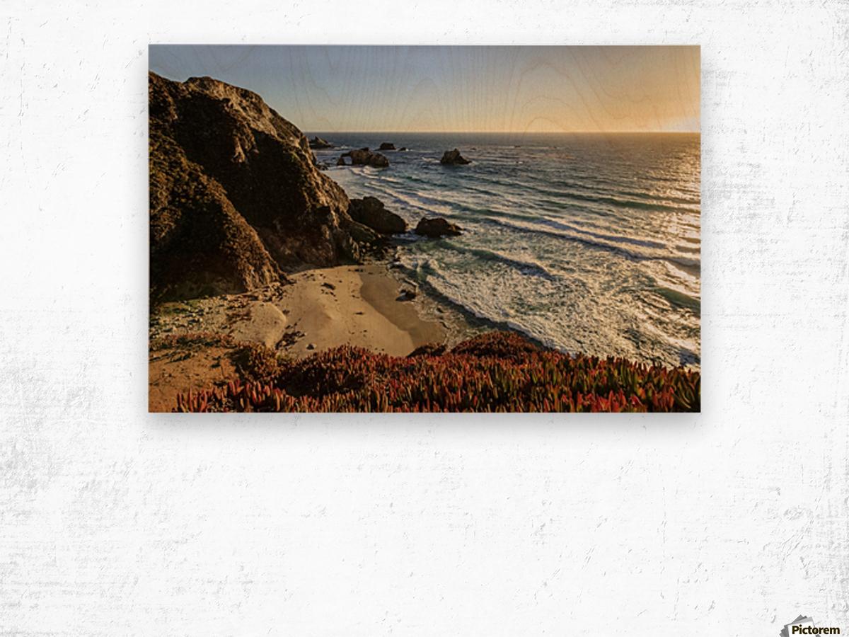 Cliffs along Big Sur coastline near Rocky Creek Bridge on Highway One; California, United States of America Wood print