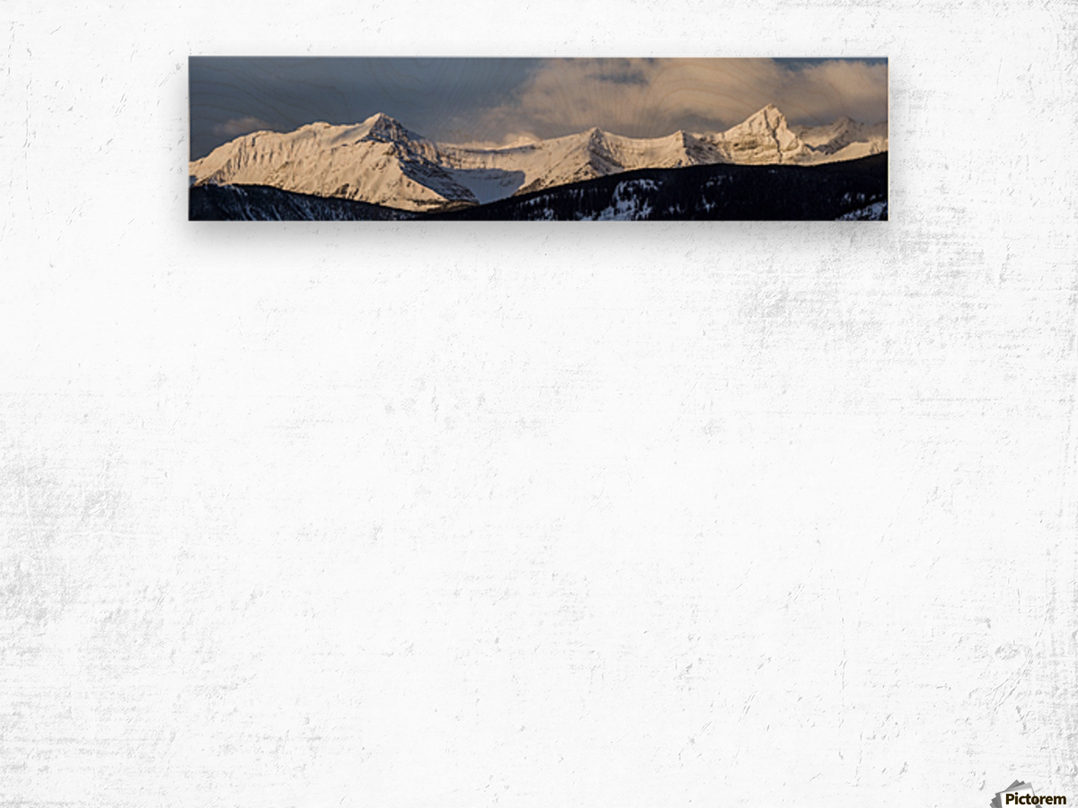 Panorama of snow covered mountains with early morning light, silhouetted forest in the foreground, blue sky and clouds; Kananaskis Country, Alberta, Canada Wood print