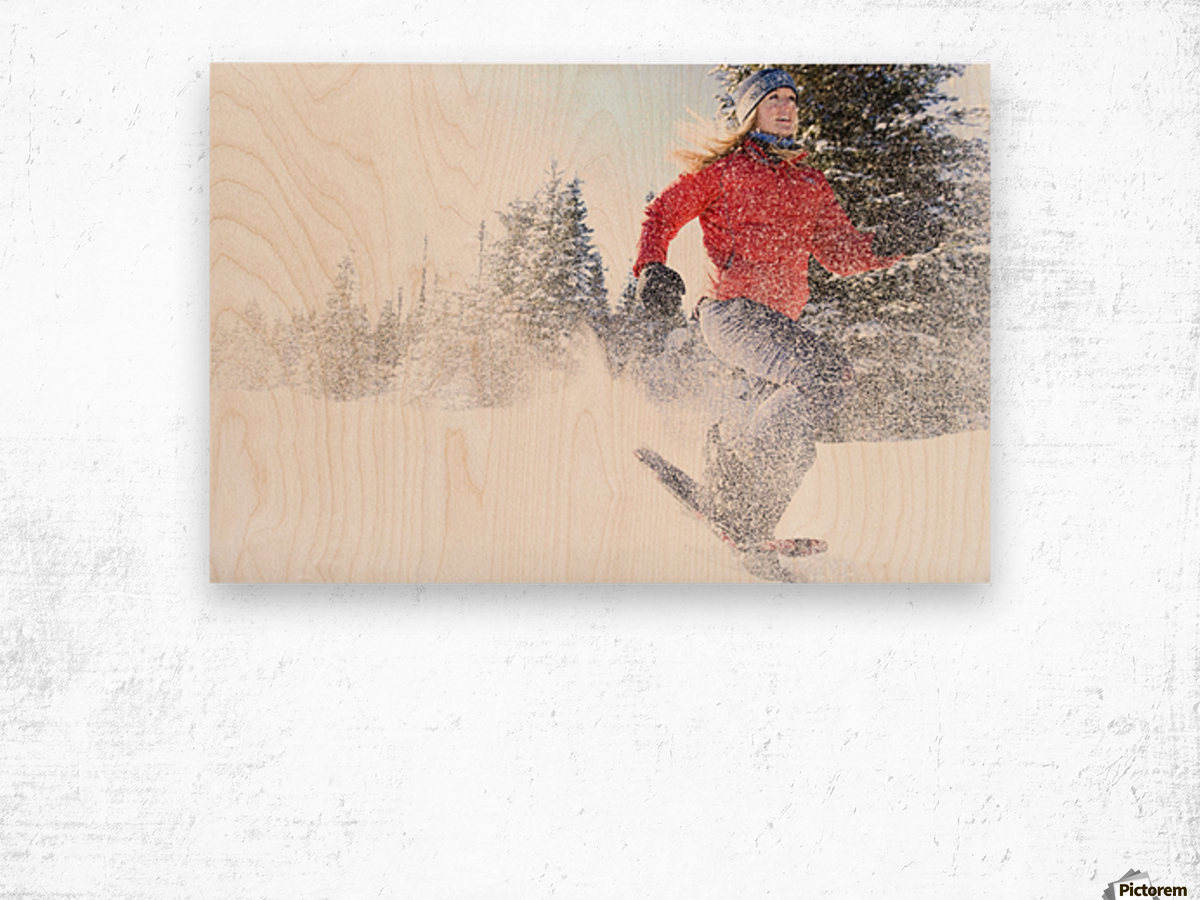 Young Woman On Snowshoes Enjoy The Outdoors Near Homer, Alaska During Winter. Wood print
