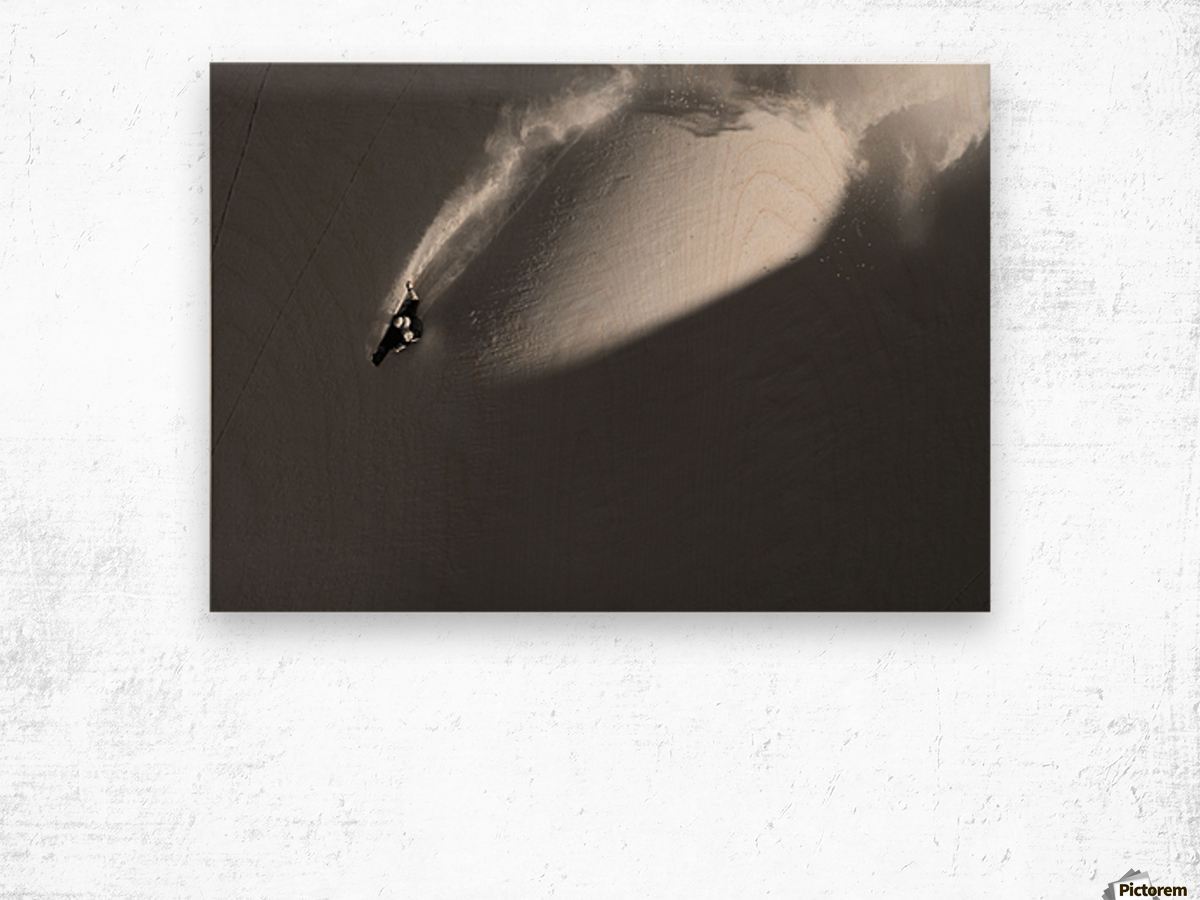 Person extreme snowboarding in mountains above Haines, Southeast Alaska, USA Wood print