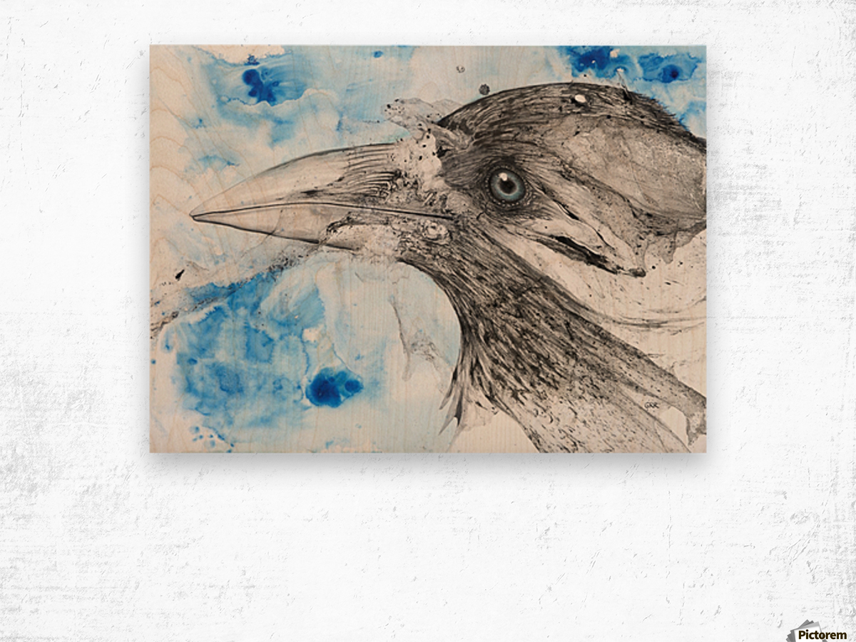 Illustration of a bird's eye and beak with mottled blue and white background Wood print
