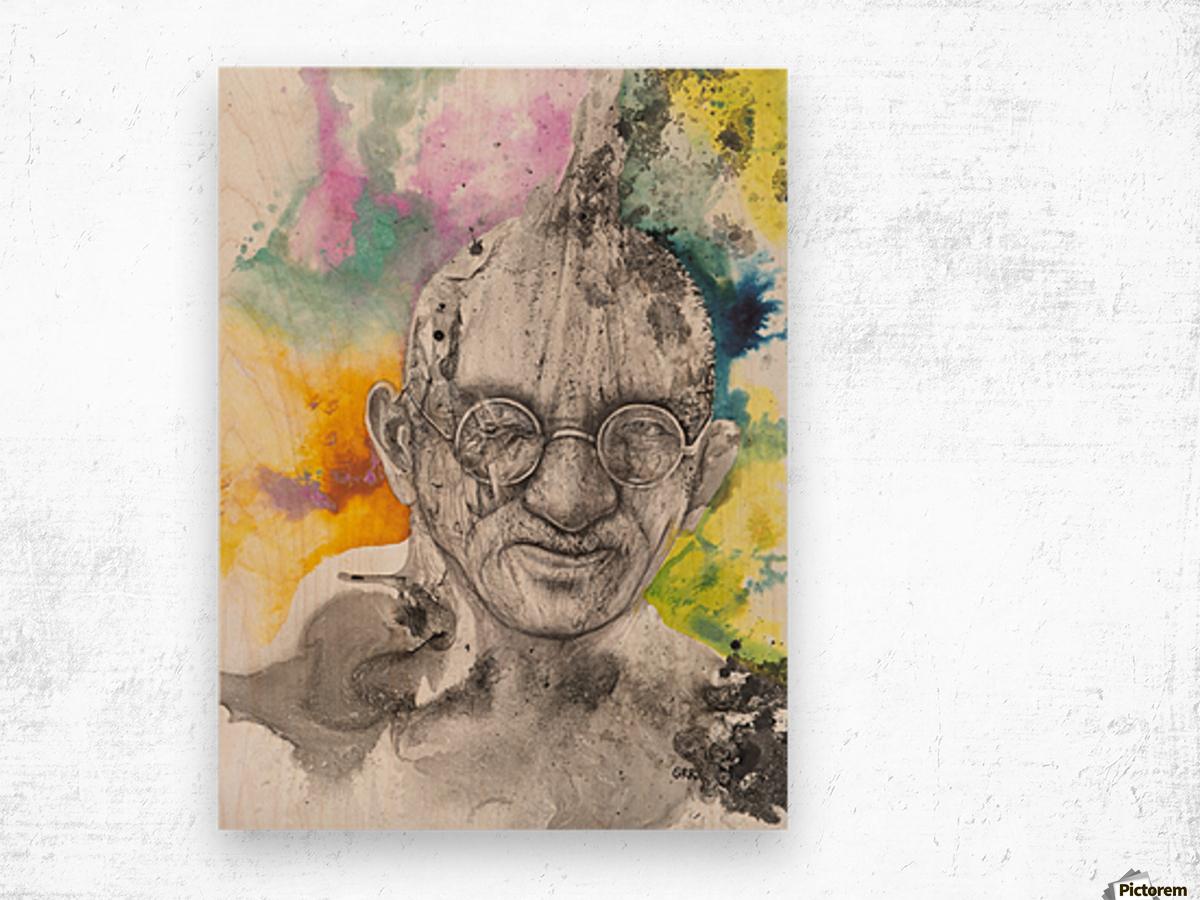 Illustration of a man wearing eyeglasses Wood print