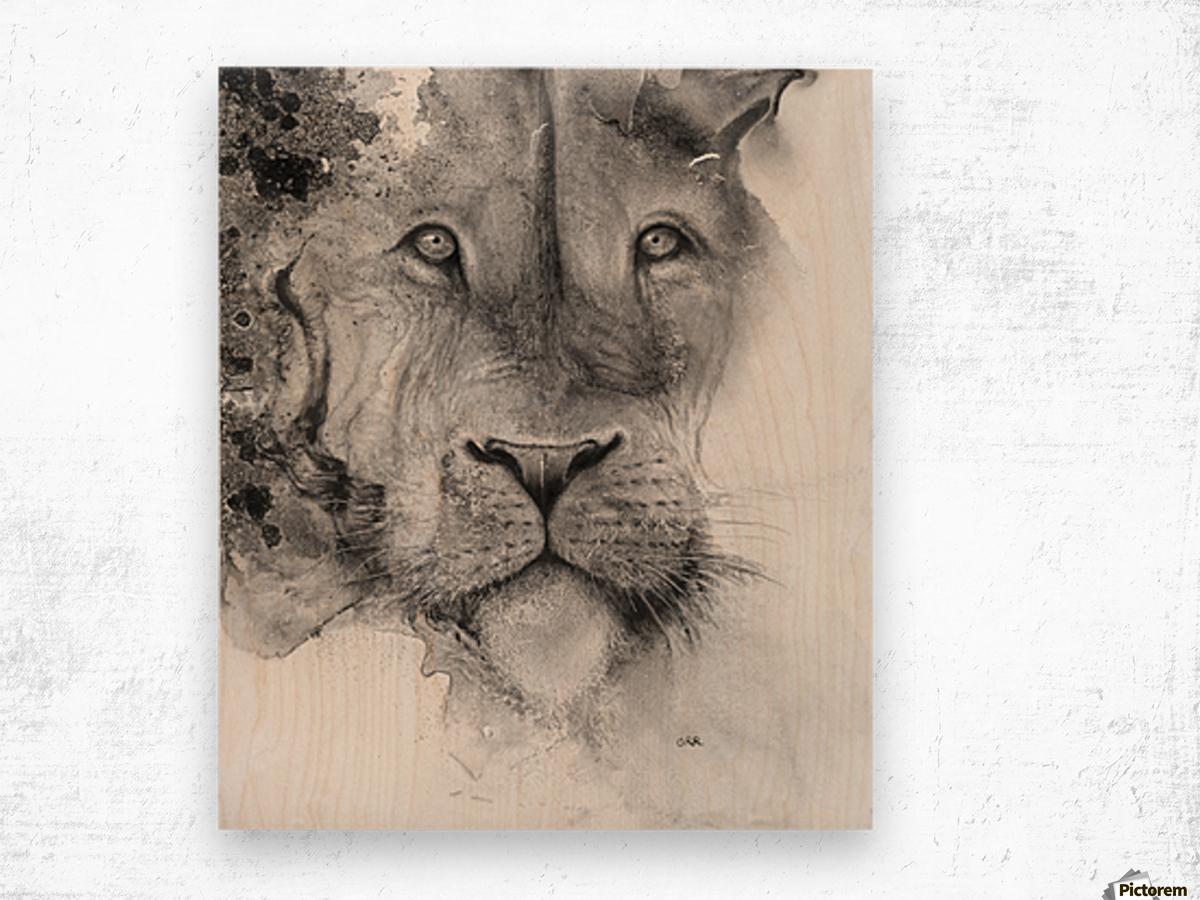 Illustration of a lion's face and a mottled background Impression sur bois