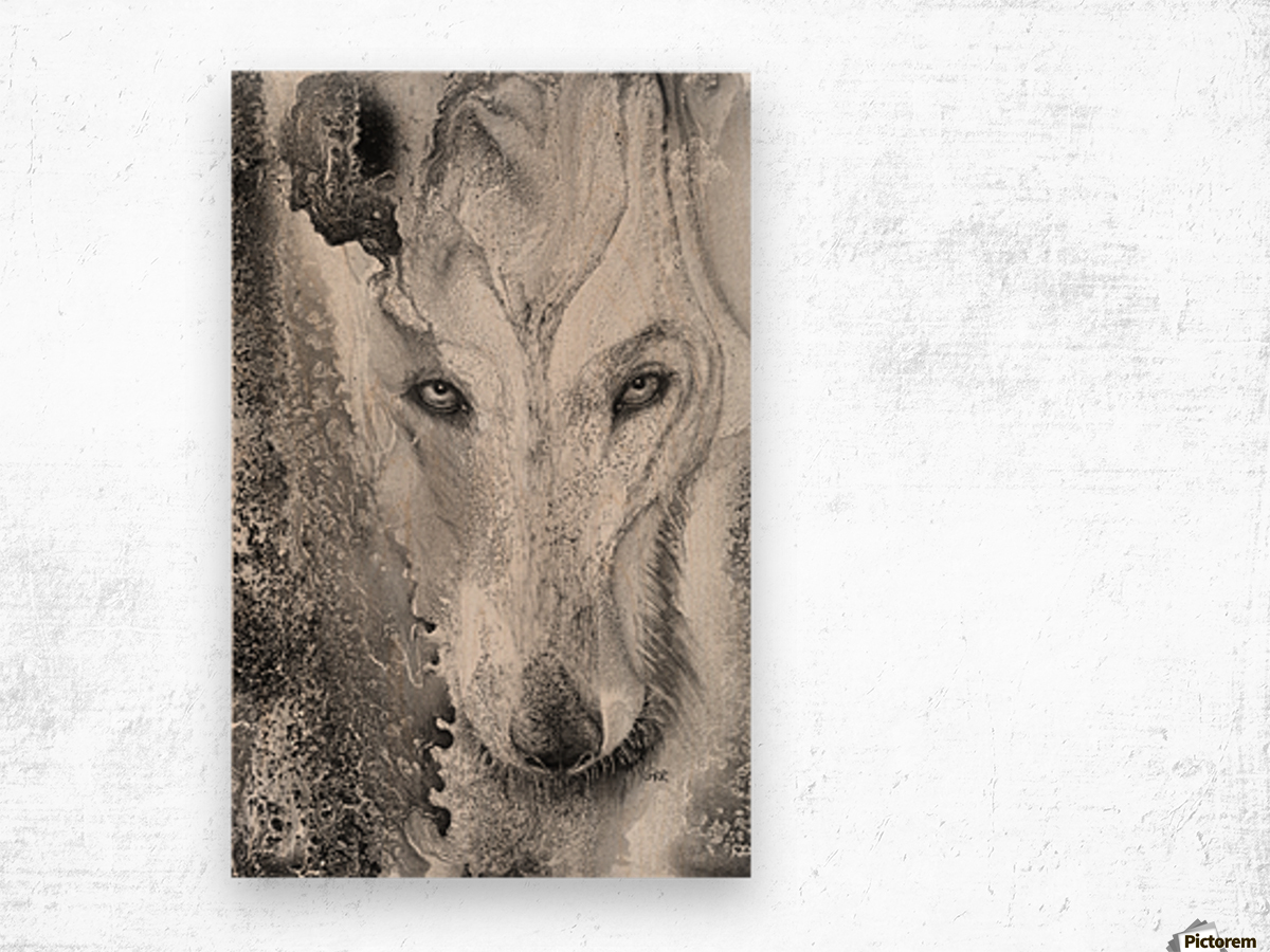 Illustration of a wolf and a mottled background Wood print