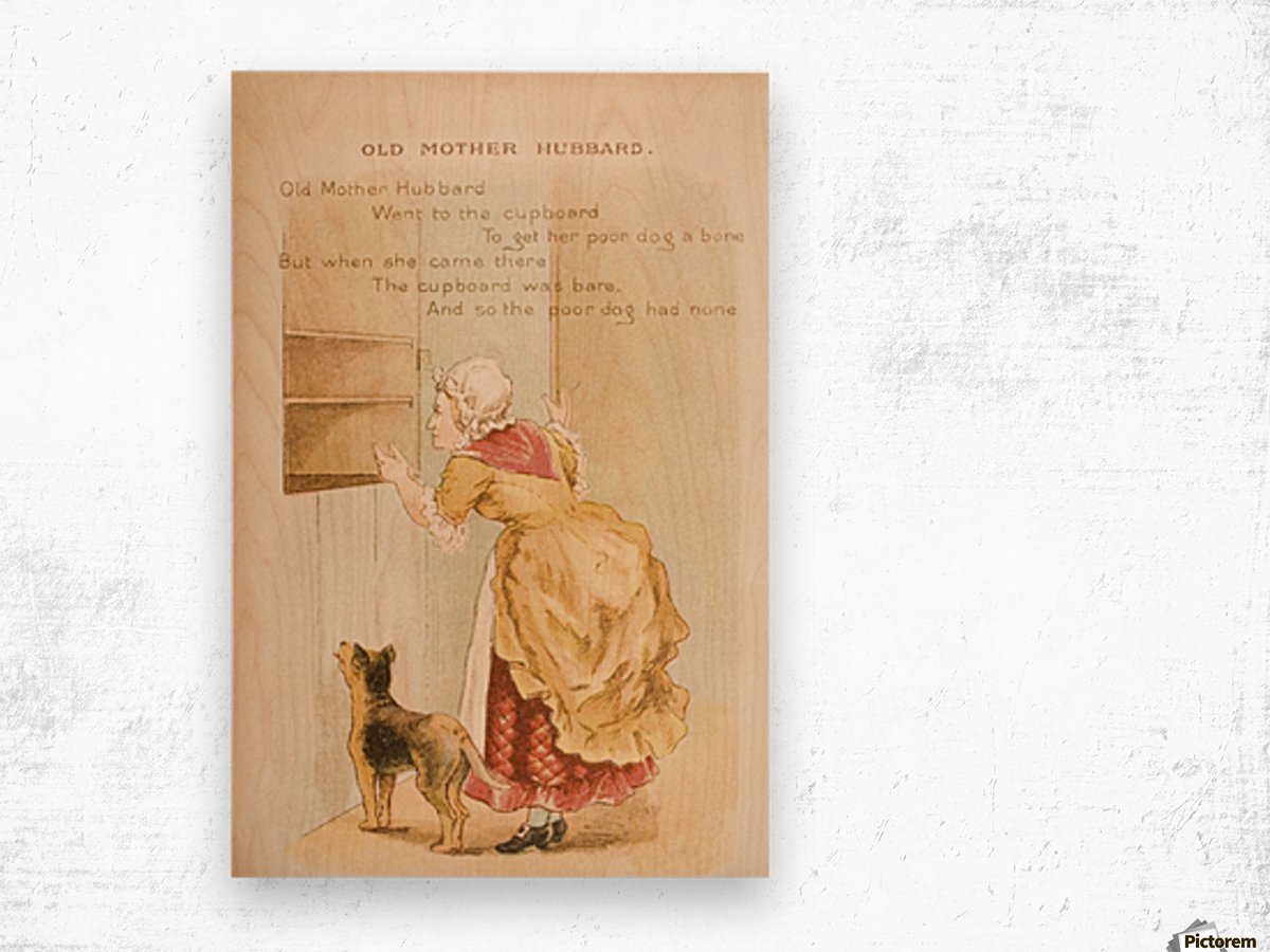 Old Mother Hubbard from Old Mother Goose's Rhymes and Tales  Illustration by Constance Haslewood  Published by Frederick Warne & Co London and New York circa 1890s  Chromolithography by Emrik & Binger of Holland Wood print