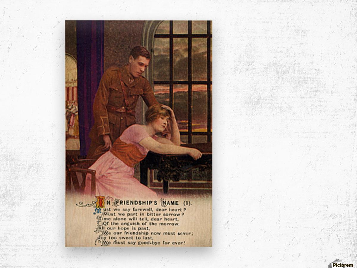 Original  First World War postcard Wood print