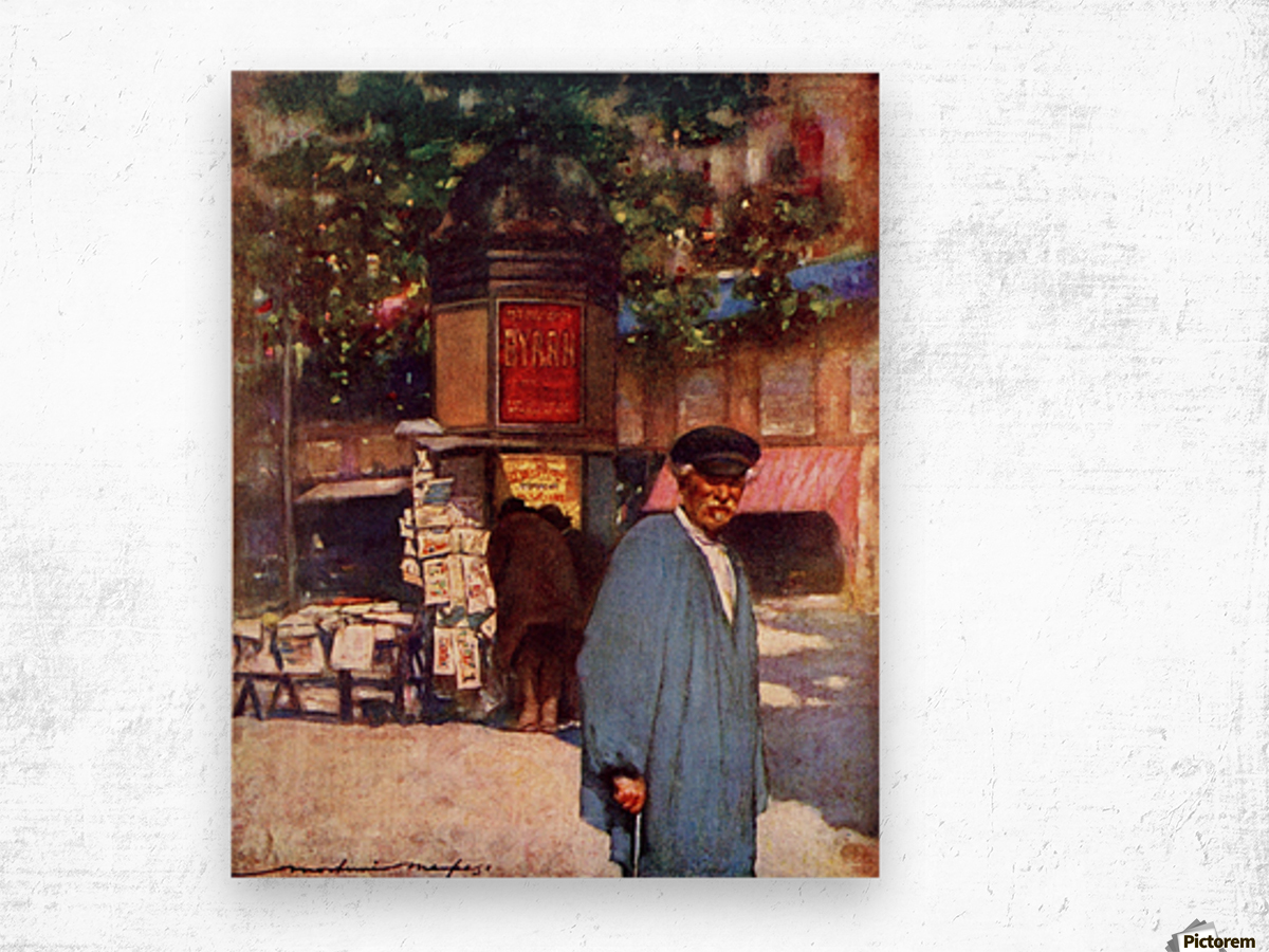 The Kiosk on the Boulevard, Paris. Colour illustration from the book France by Gordon Home published 1918 Wood print