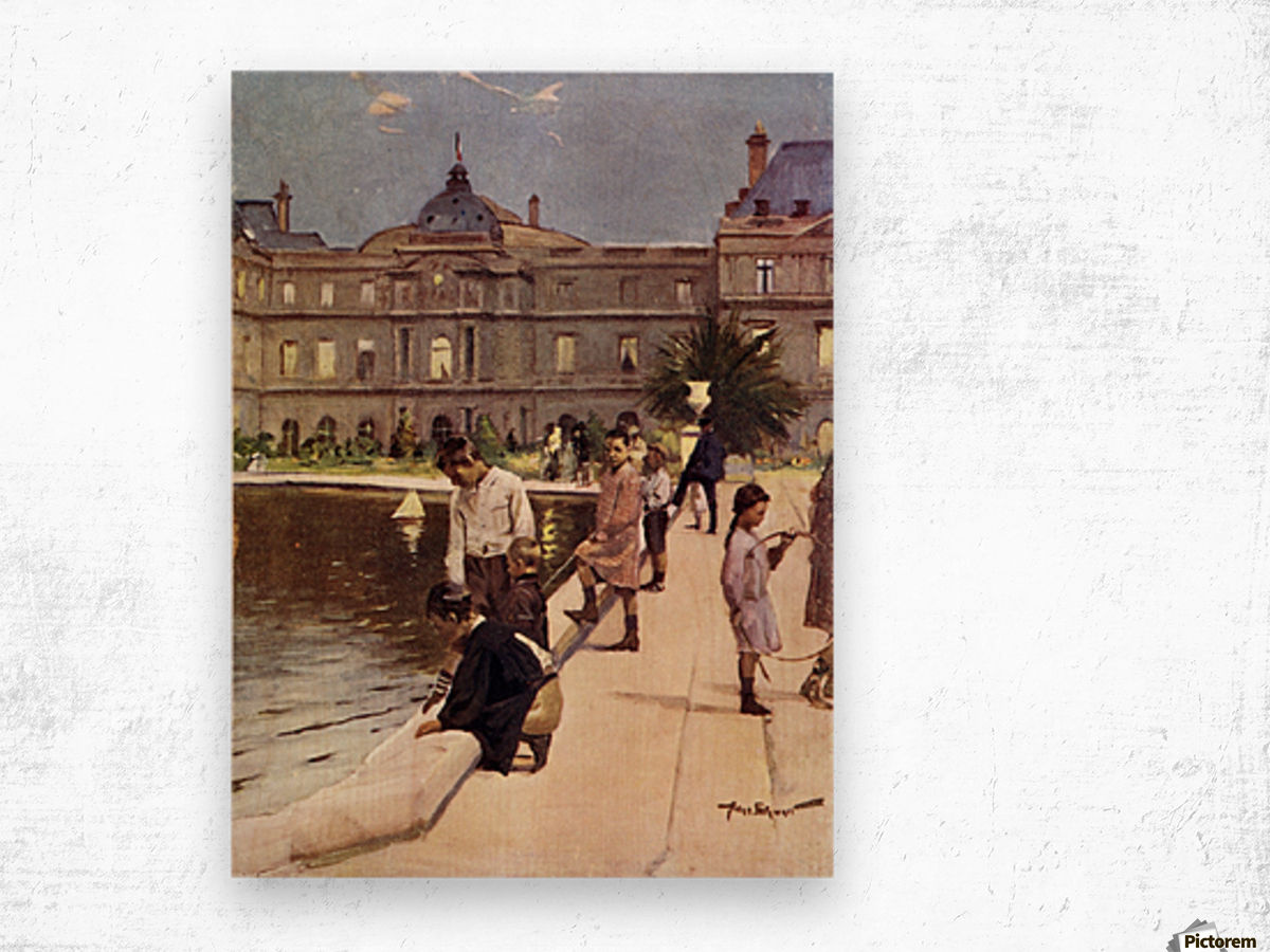 Children of Paris in The Luxemburg Gardens, Paris, France. Colour illustration from the book France by Gordon Home published 1918 Wood print
