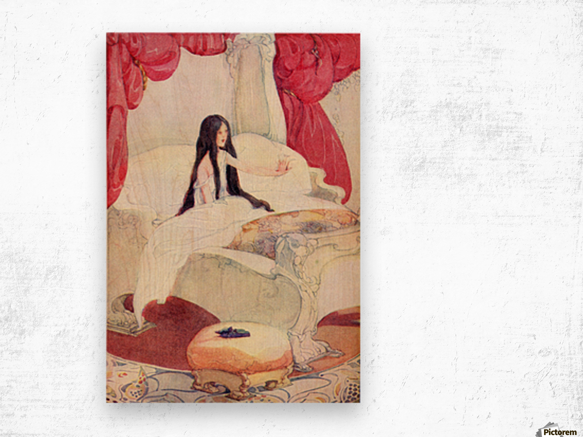 The House in the Wood, illustration from The Golden Wonder Book published 1934.  The bed was of ivory, and the curtains of red velvet, and on a stool close by was placed a pair of slippers ornamented with pearls. Wood print