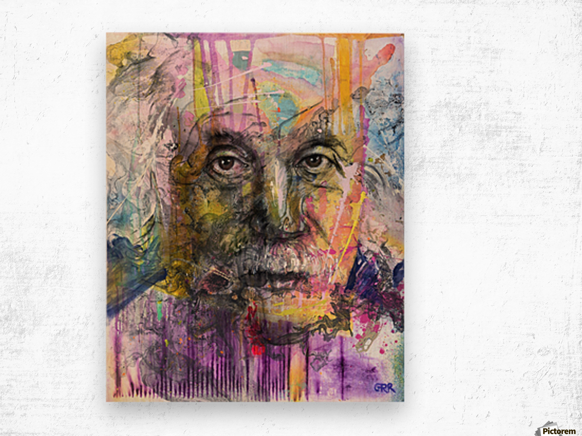 Illustration of a man's face with colourful abstract patterns surrounding it Wood print
