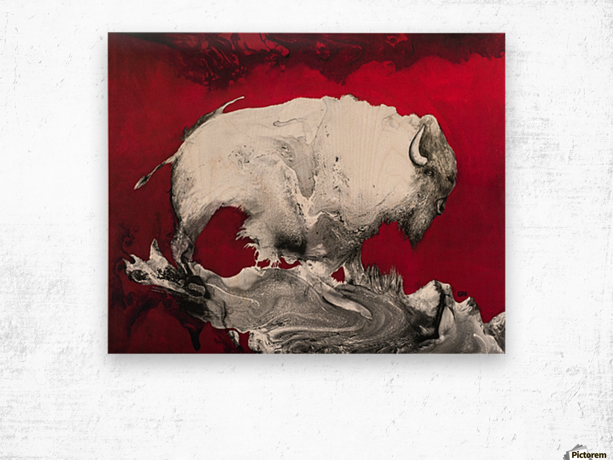 Illustration of a bison against a red background Wood print