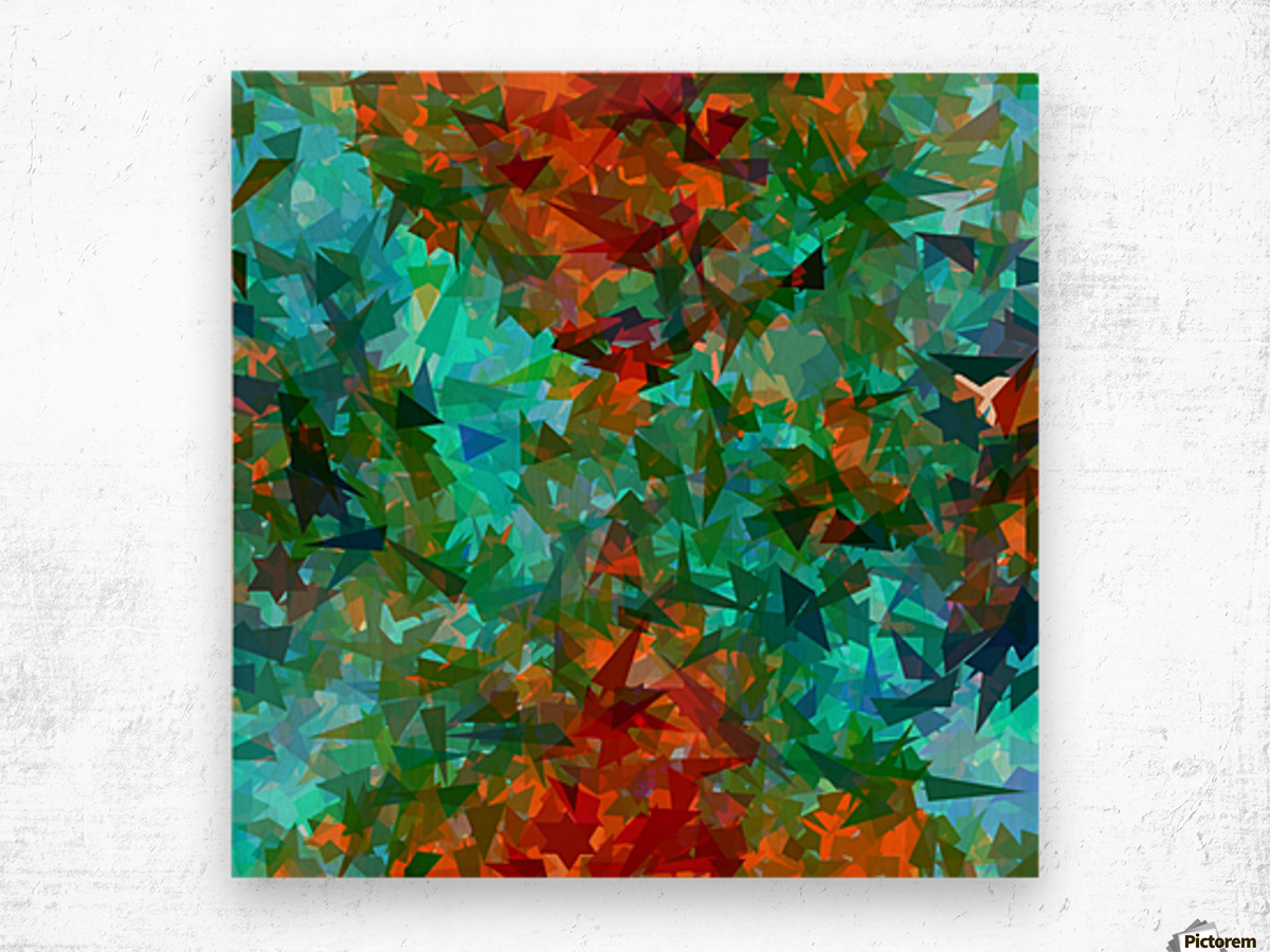 psychedelic geometric abstract pattern in green blue orange Wood print