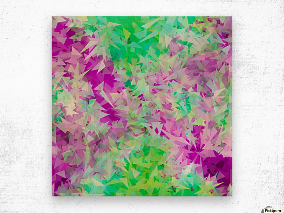 psychedelic geometric triangle abstract pattern in purple and green Wood print