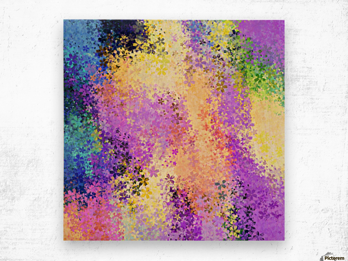 flower pattern abstract background in purple yellow blue green Wood print