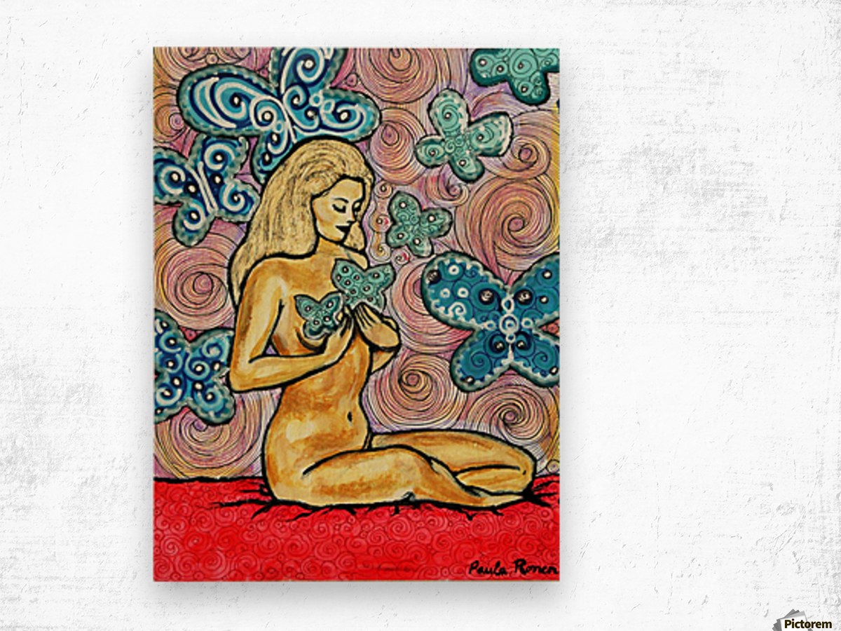 Desnudo con mariposas Wood print
