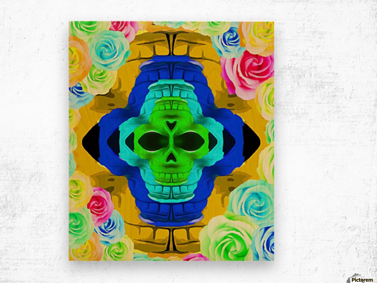 funny skull portrait with colorful roses in pink blue yellow green Wood print