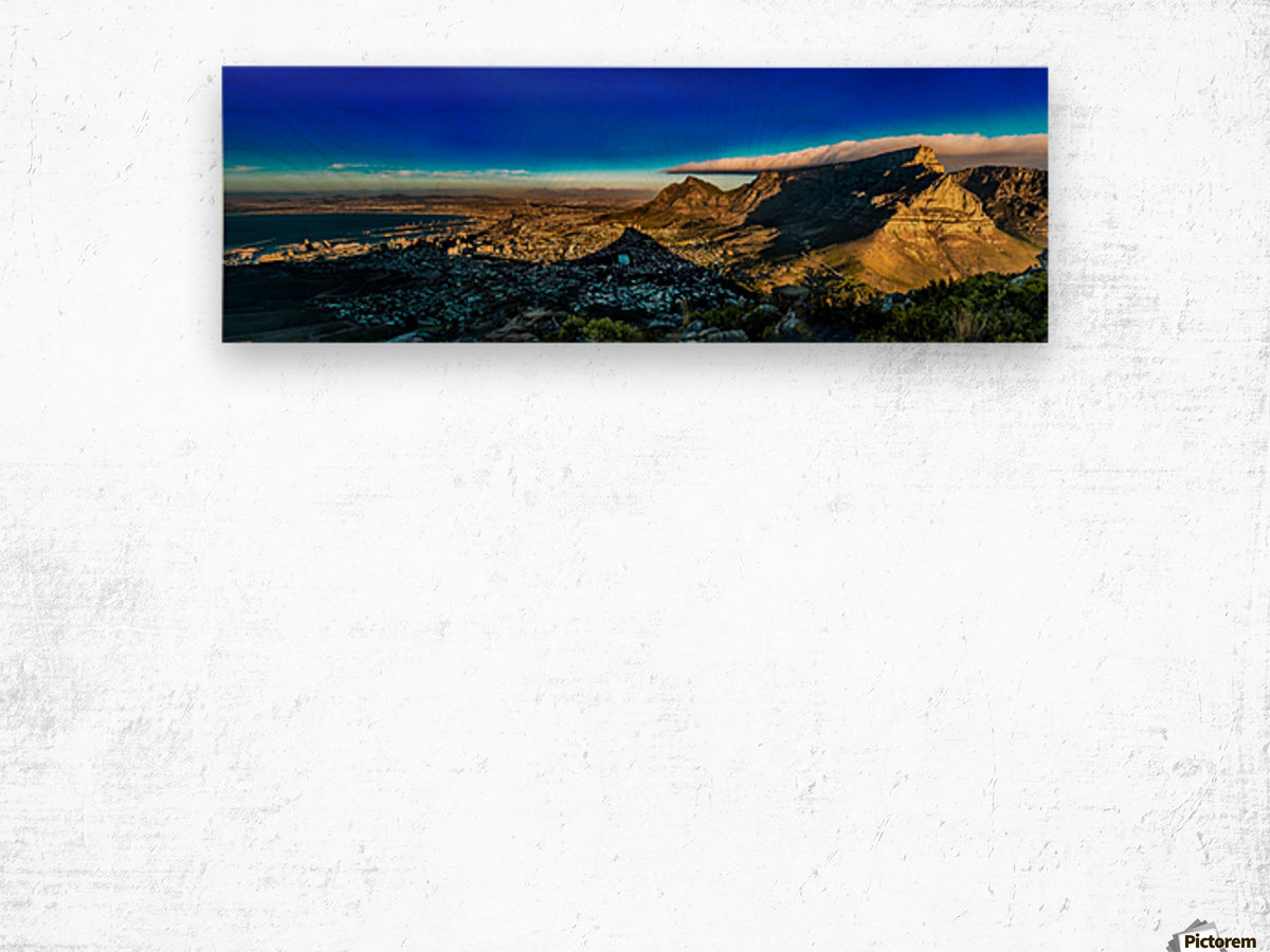 Cape Town's Table Mountain Wood print