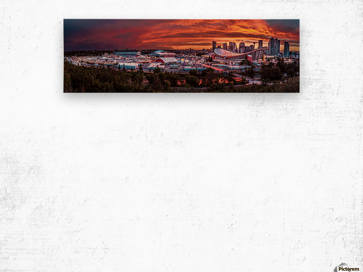 Calgary After the Storm - Fire in the Sky Wood print
