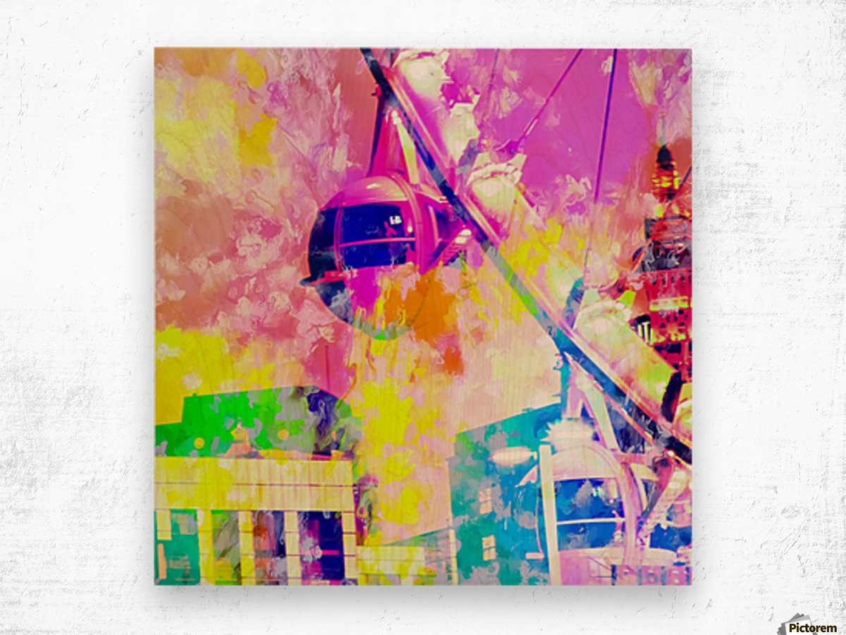 Ferris wheel and modern building at Las Vegas, USA with colorful painting abstract background Wood print