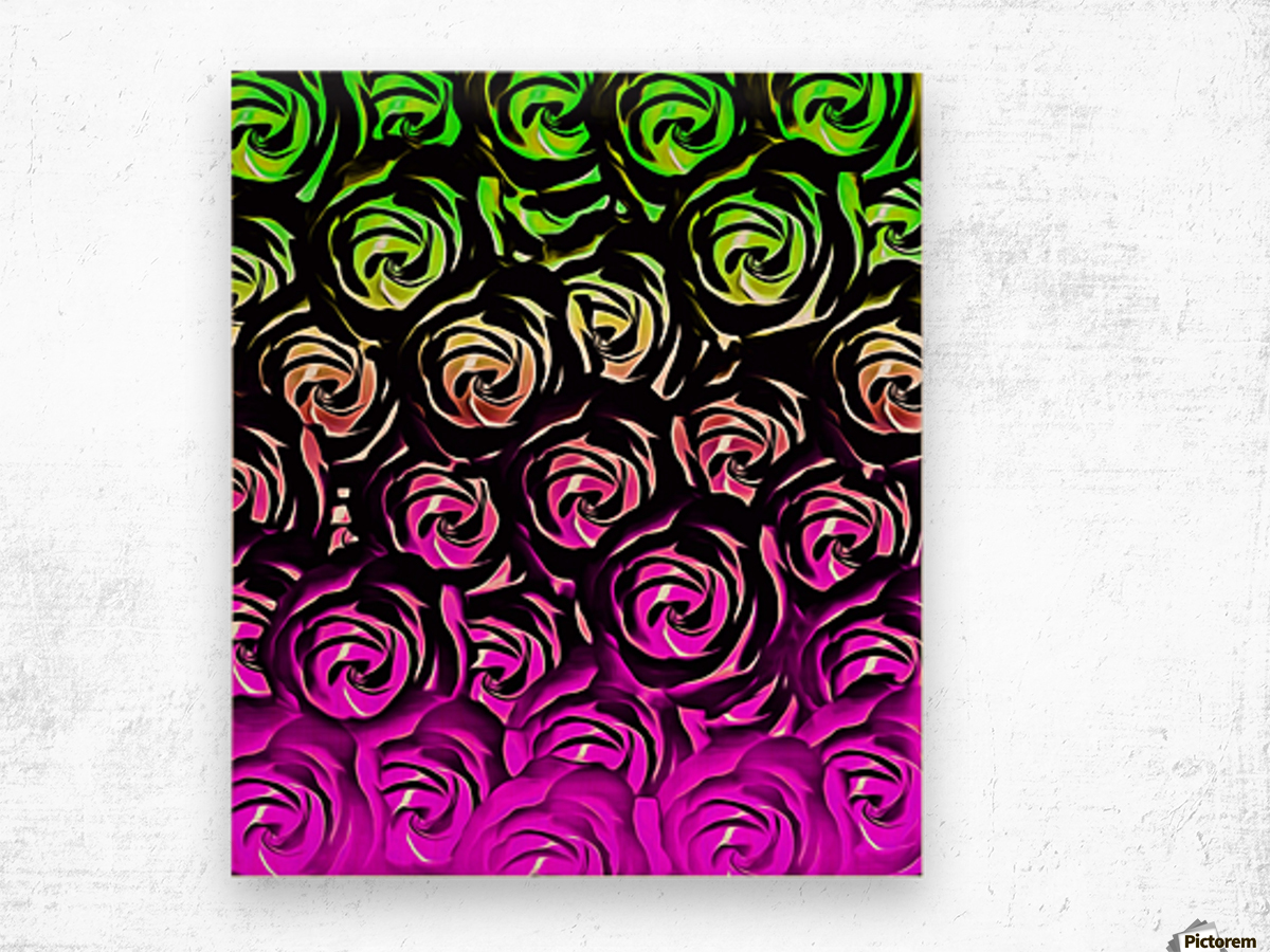 rose pattern texture abstract background in green and pink Wood print