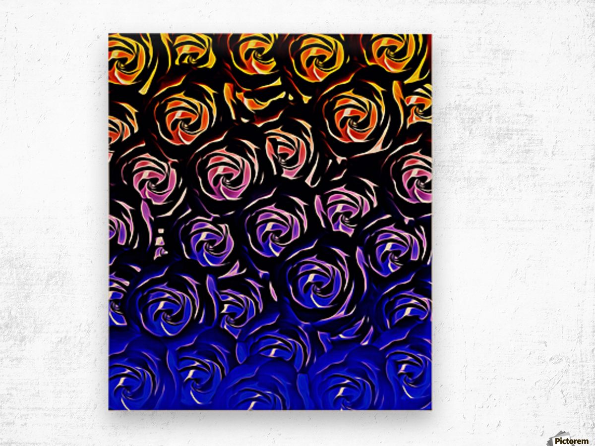 rose pattern texture abstract background in blue and red Wood print