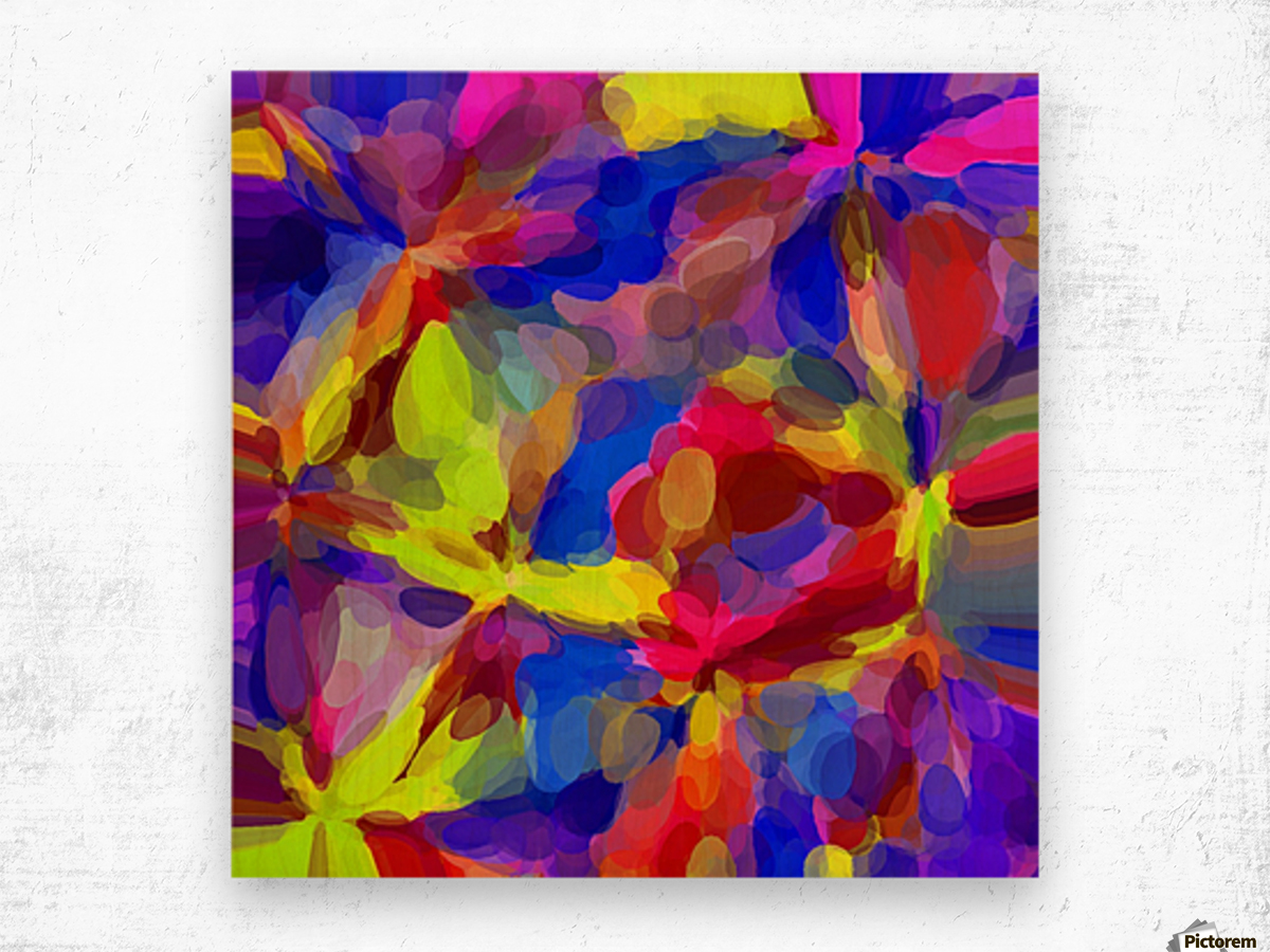 circle pattern abstract background in blue yellow red pink Wood print