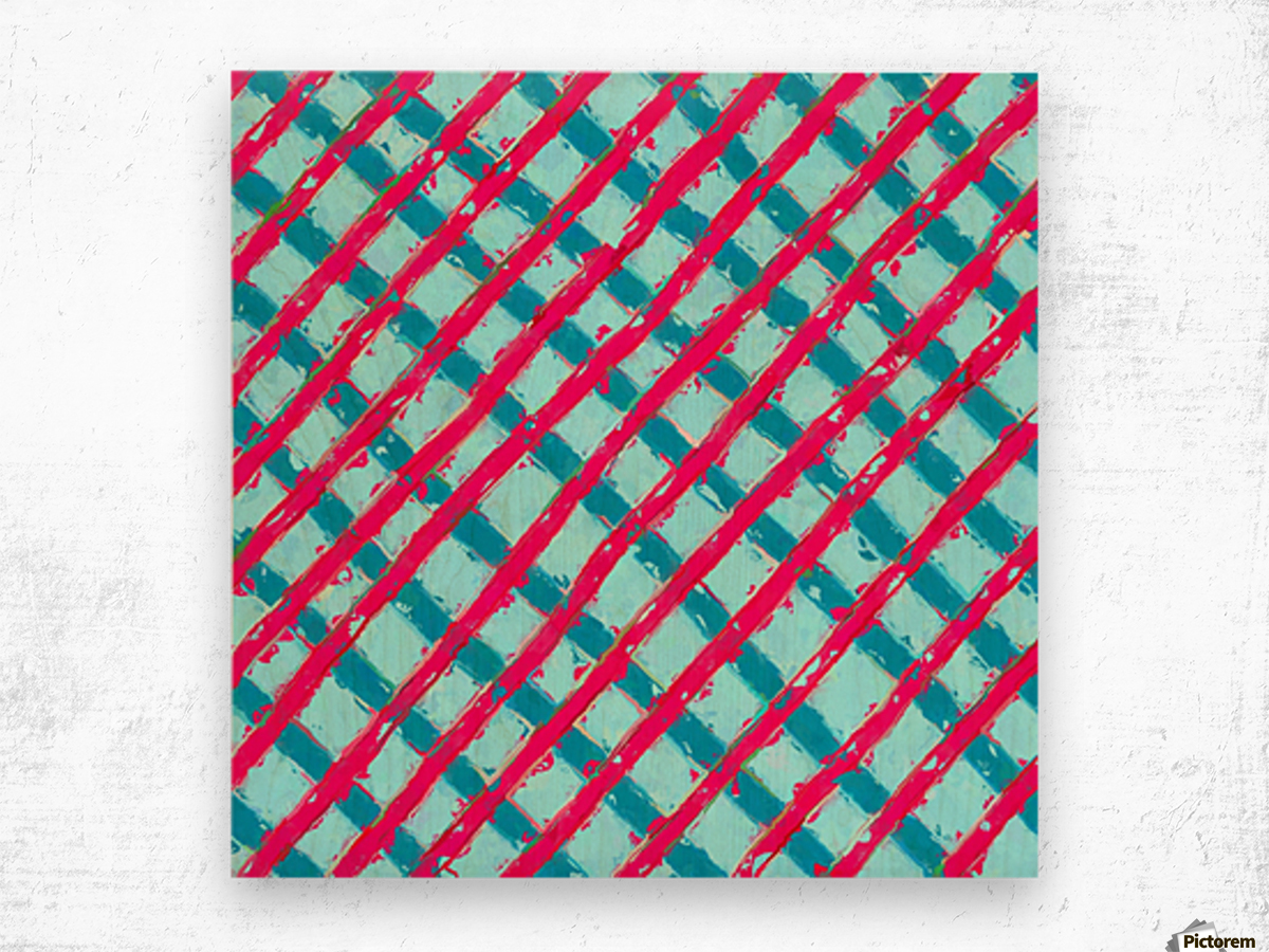 line pattern painting abstract background in blue and red Wood print