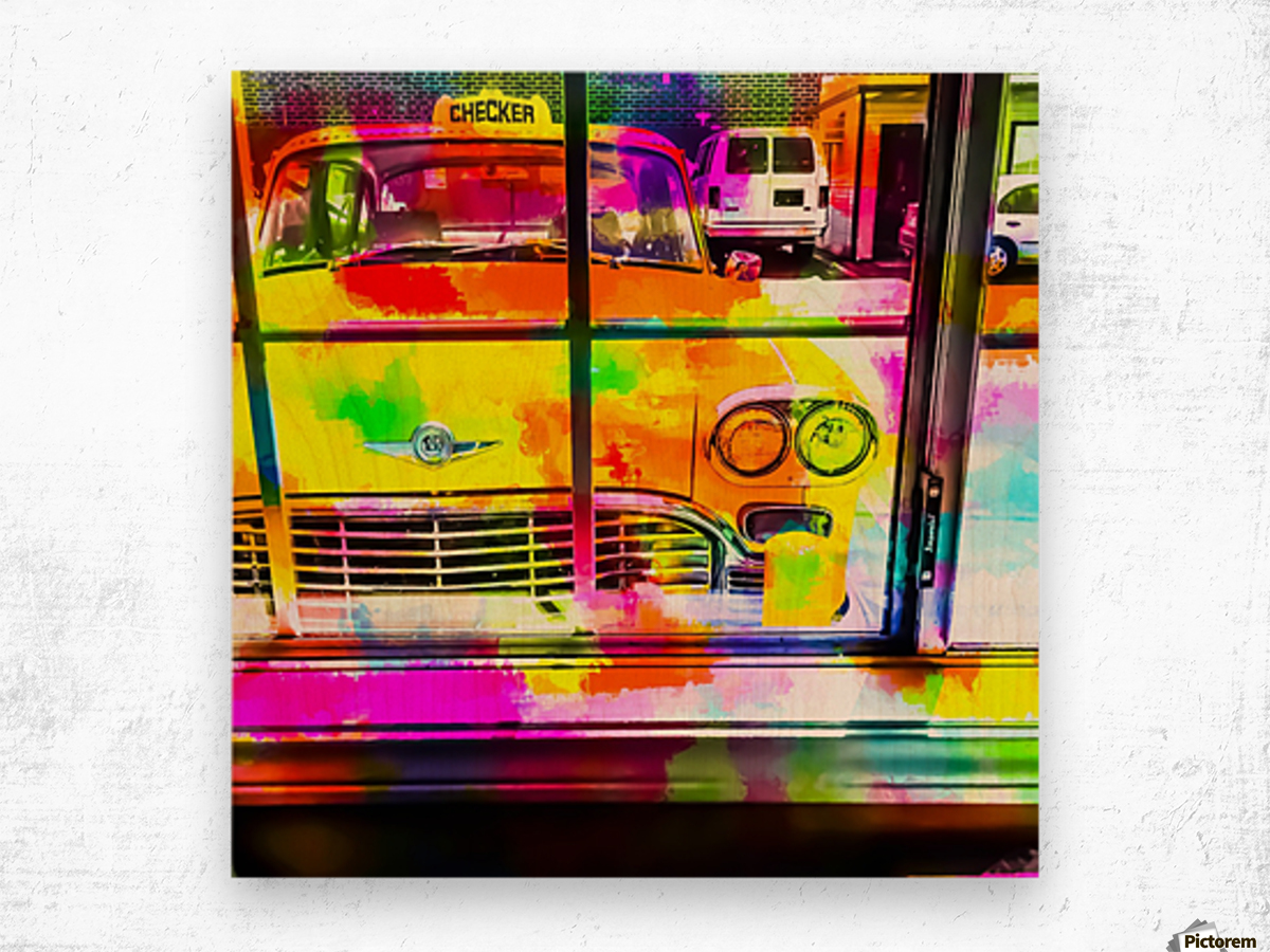 yellow classic taxi car with colorful painting abstract in pink orange green Wood print