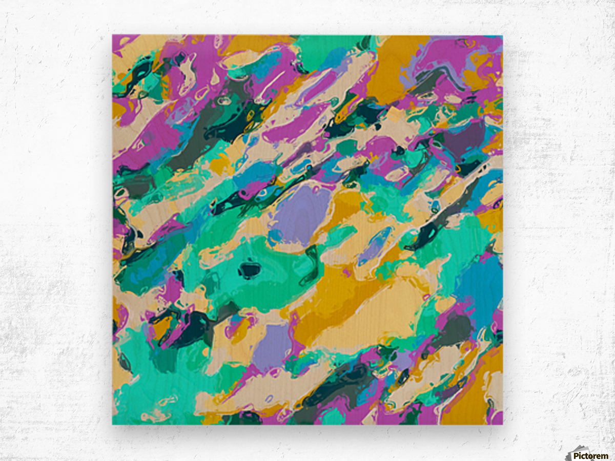 camouflage pattern painting abstract background in green blue purple yellow Wood print