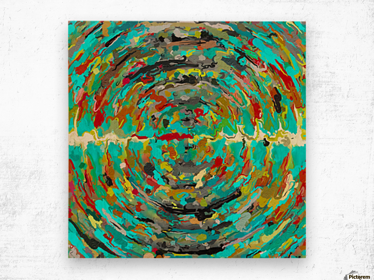 psychedelic circle pattern painting abstract background in green blue yellow brown Wood print