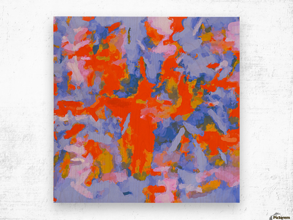 splash painting texture abstract background in red blue orange Wood print