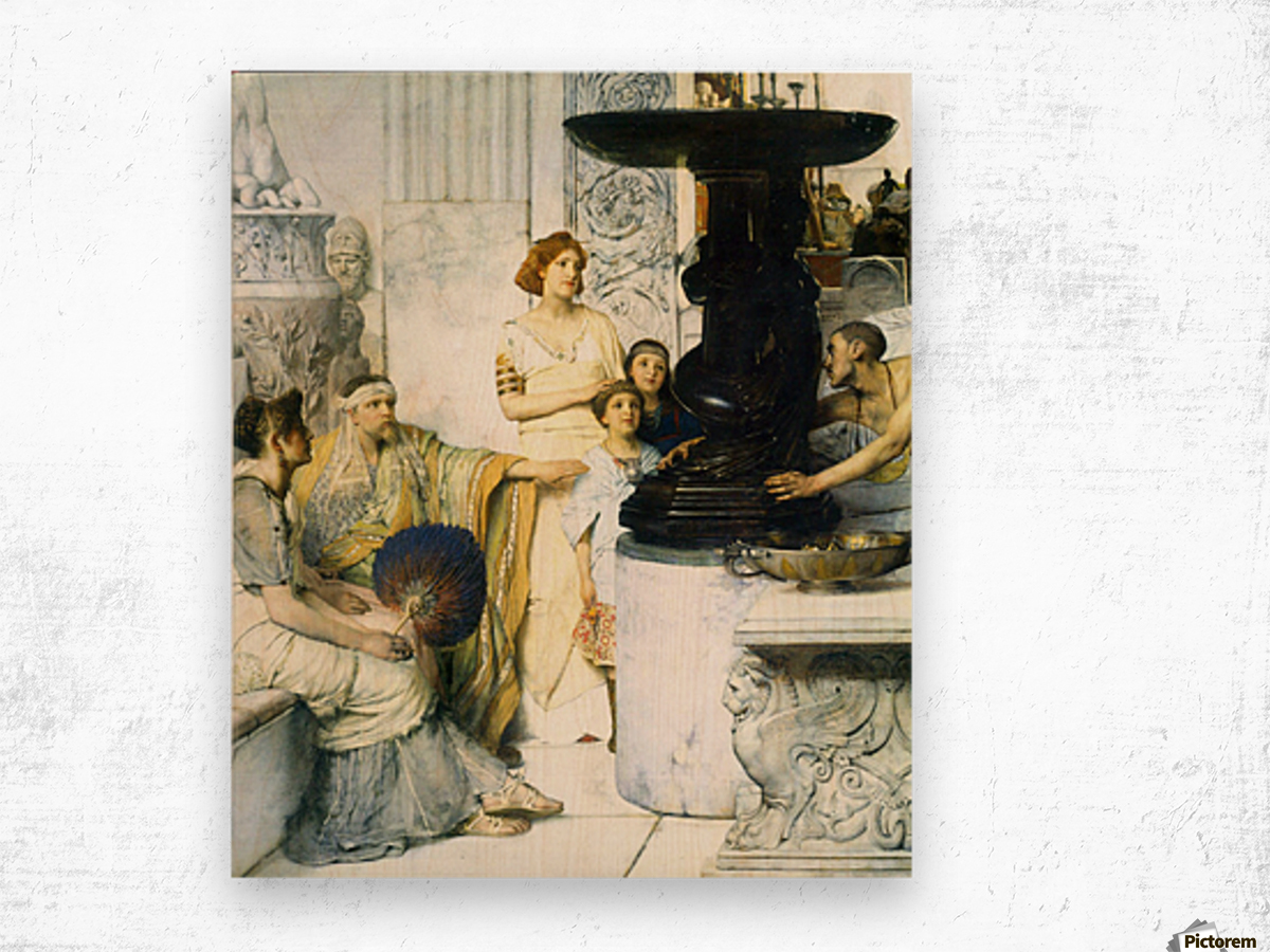 The Sculpture Gallery detail by Alma-Tadema Wood print