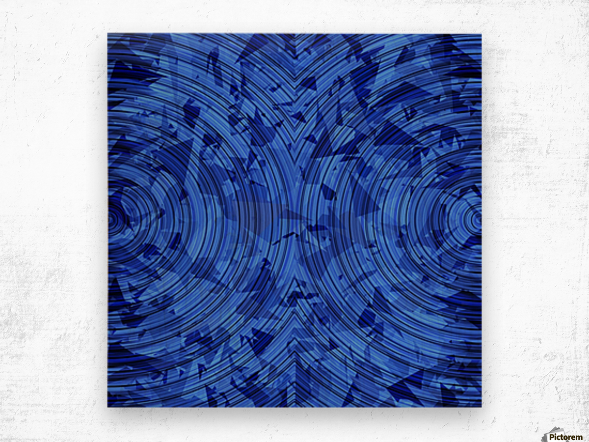 psychedelic geometric circle pattern abstract background in blue Wood print