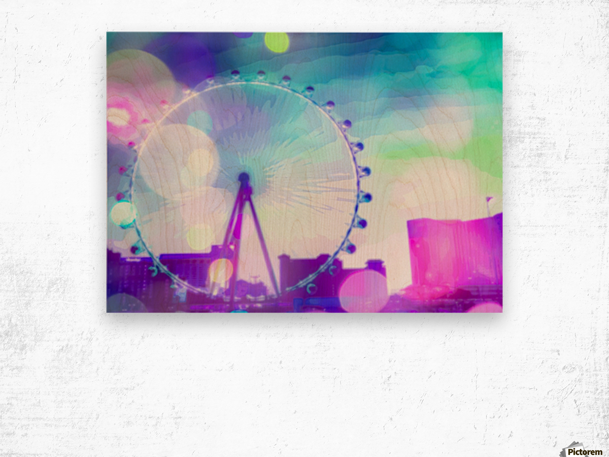 ferris wheel in the city at Las Vegas, USA with the night light bokeh Wood print