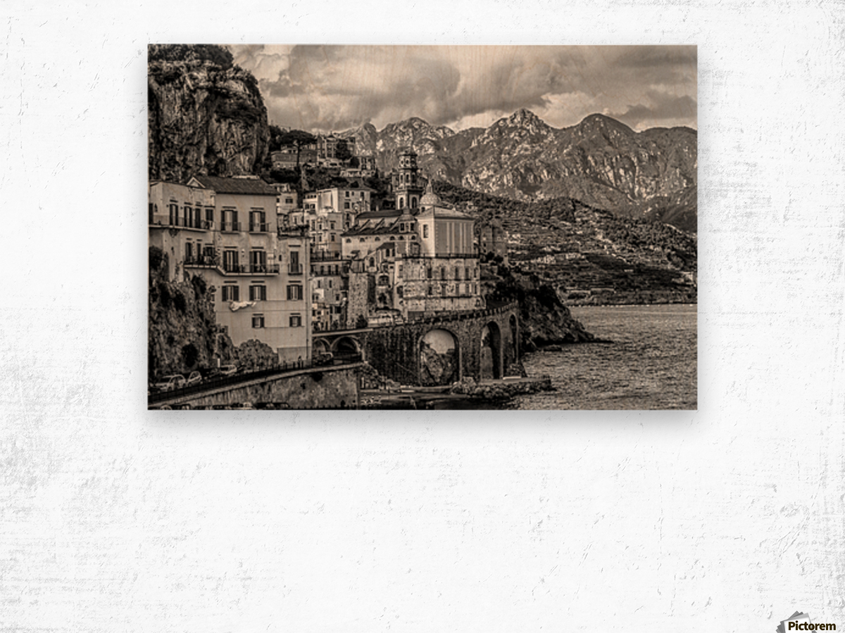 Black and White Landscape - Amalfi Coast - Italy Wood print