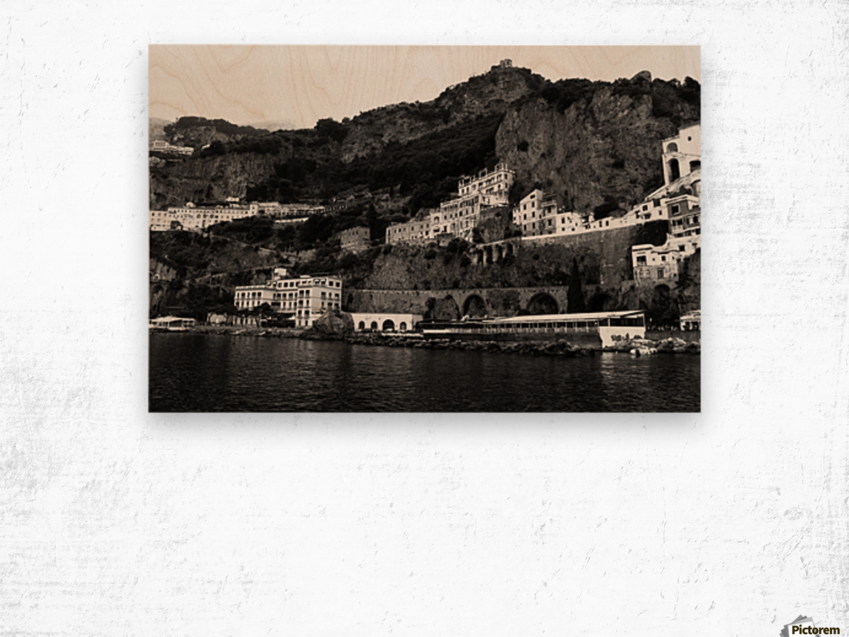 Amalfi Coast Black and White Landscape Wood print