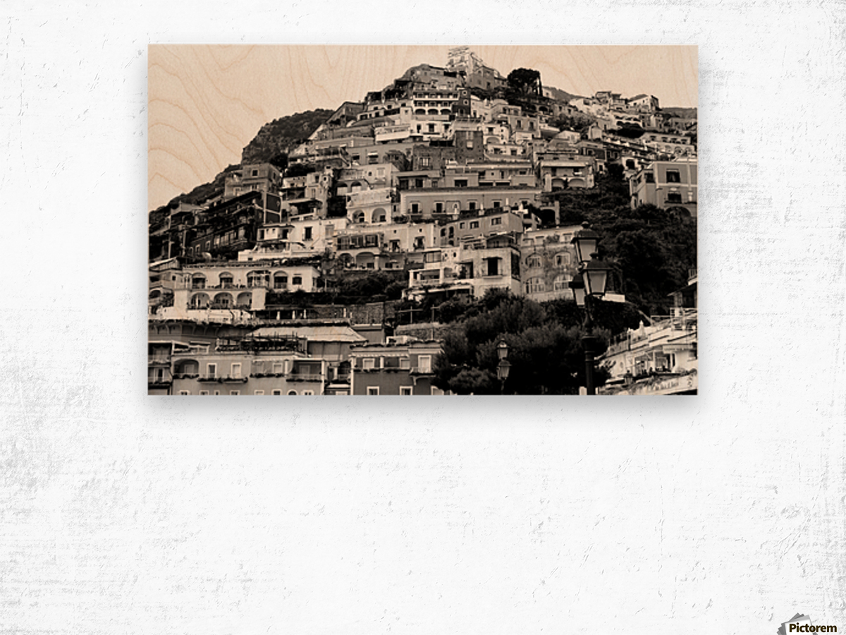 Black and White Landscape - Positano - Italy Wood print