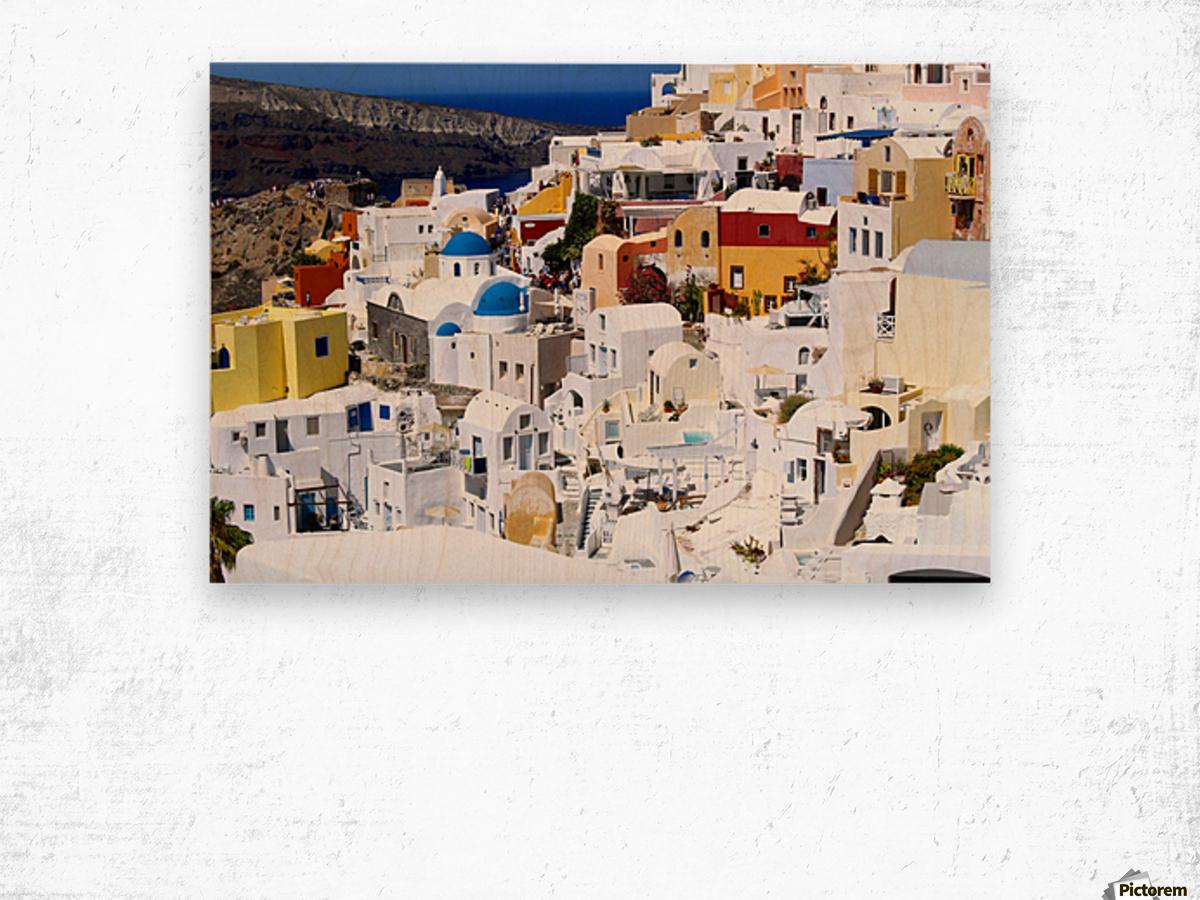 Colours of Santorini Wood print