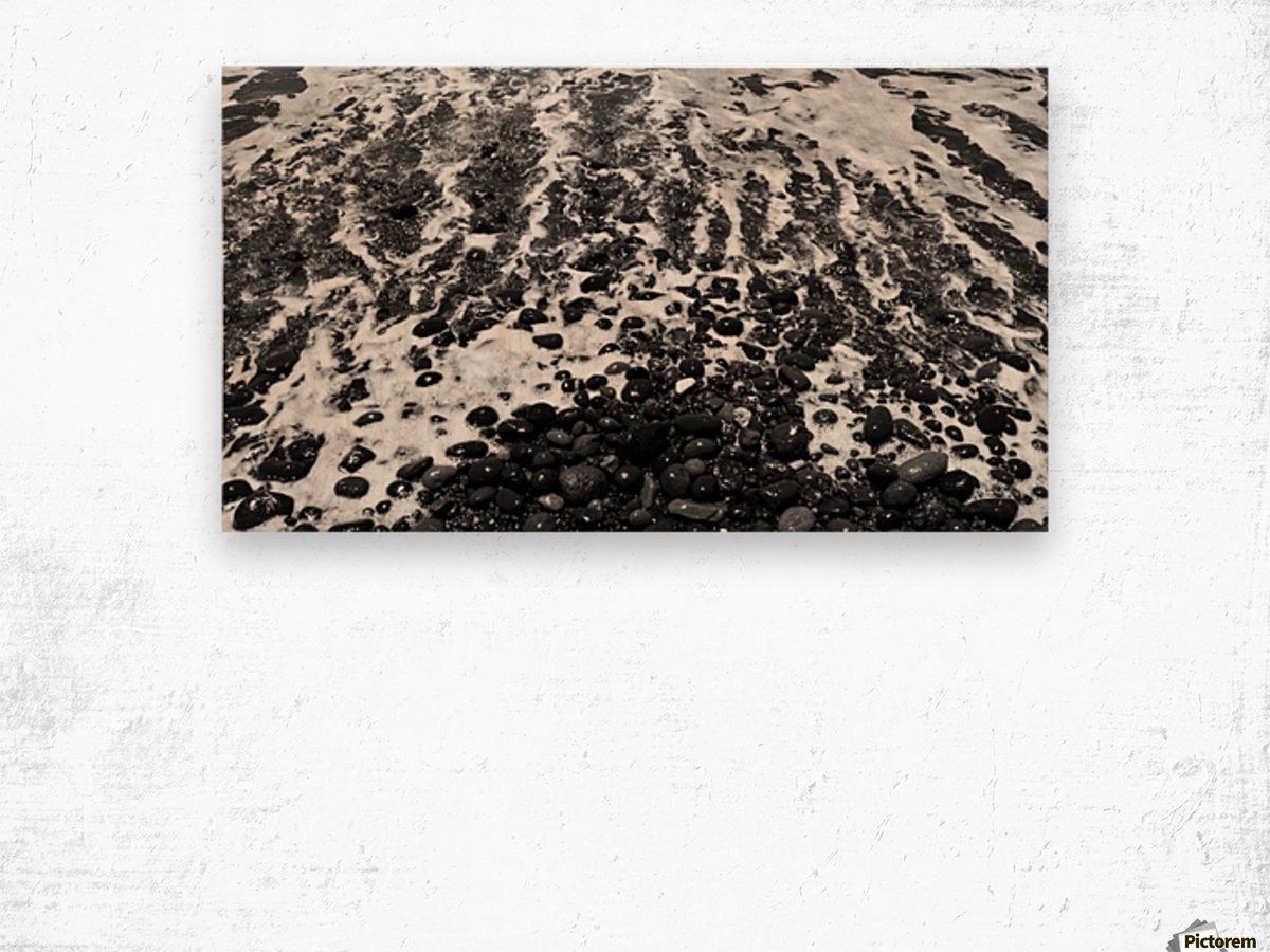 The Beach - Ocean waves in Black and White Wood print