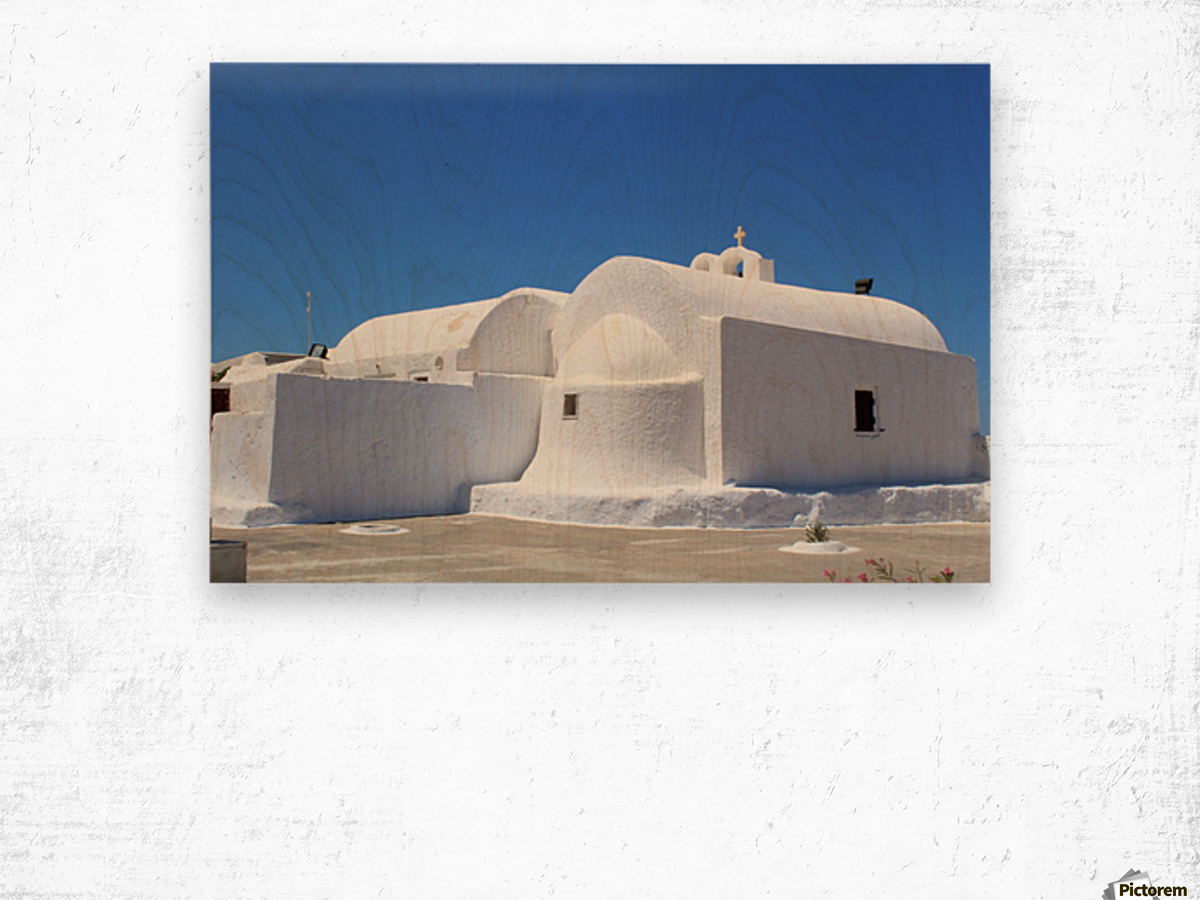 White Church -Santorini Island -  Greece Wood print