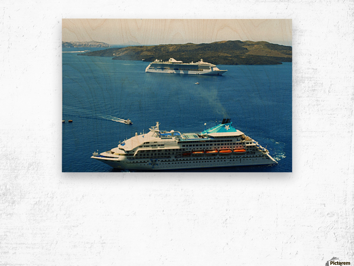 The Cruise Ship in the Blue Ocean Wood print