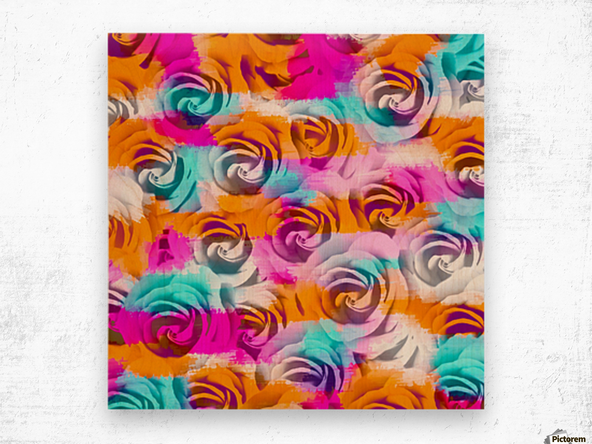 closeup rose texture pattern abstract background in pink orange blue Wood print