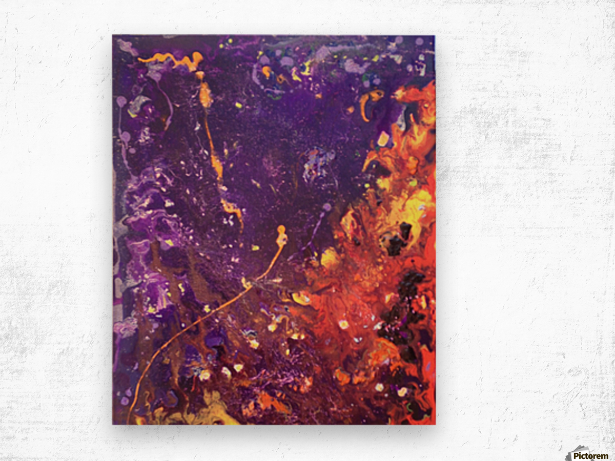 The Flow Purple and Orange Abstract Wood print
