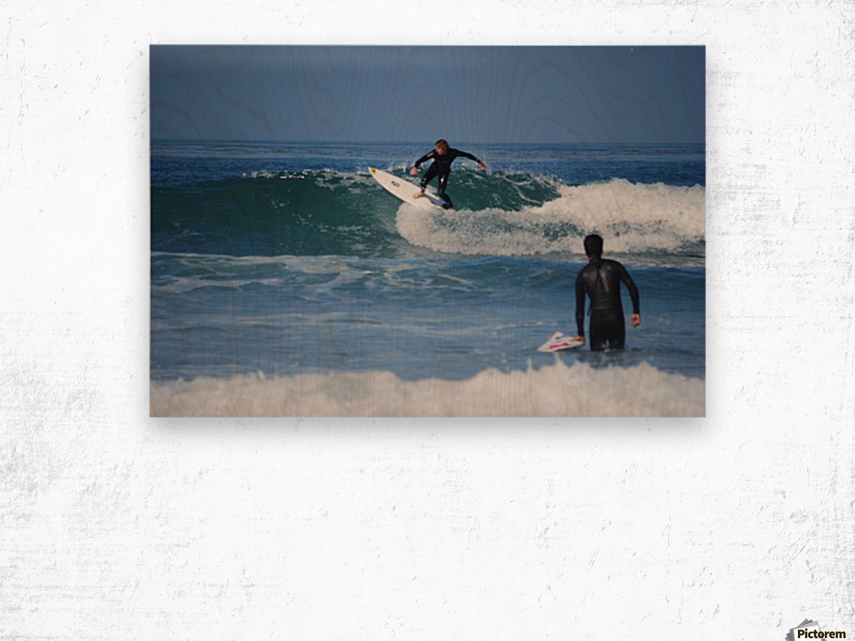 Guy Surfing In California Wood print