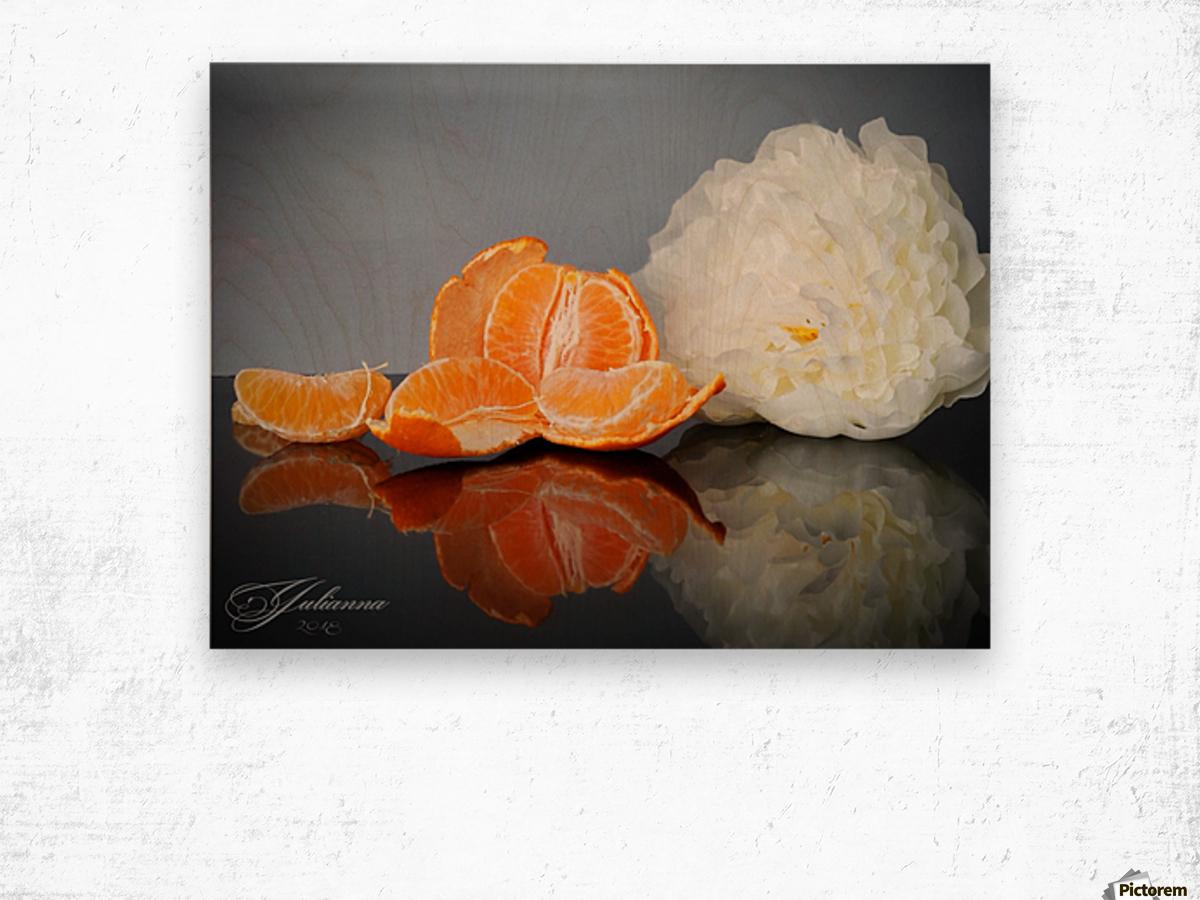 Orange sparkle  Wood print