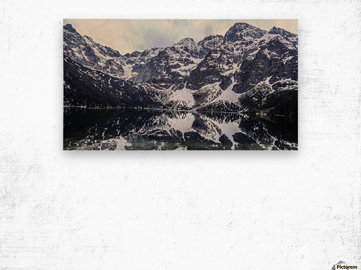 Mountains in the Lake Wood print