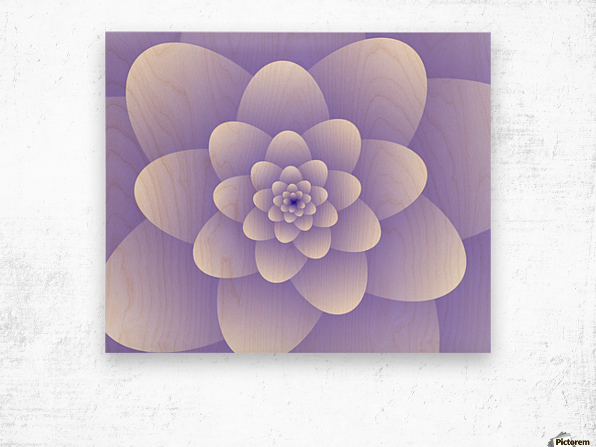 Purple Floral Spiral Artwork Wood print