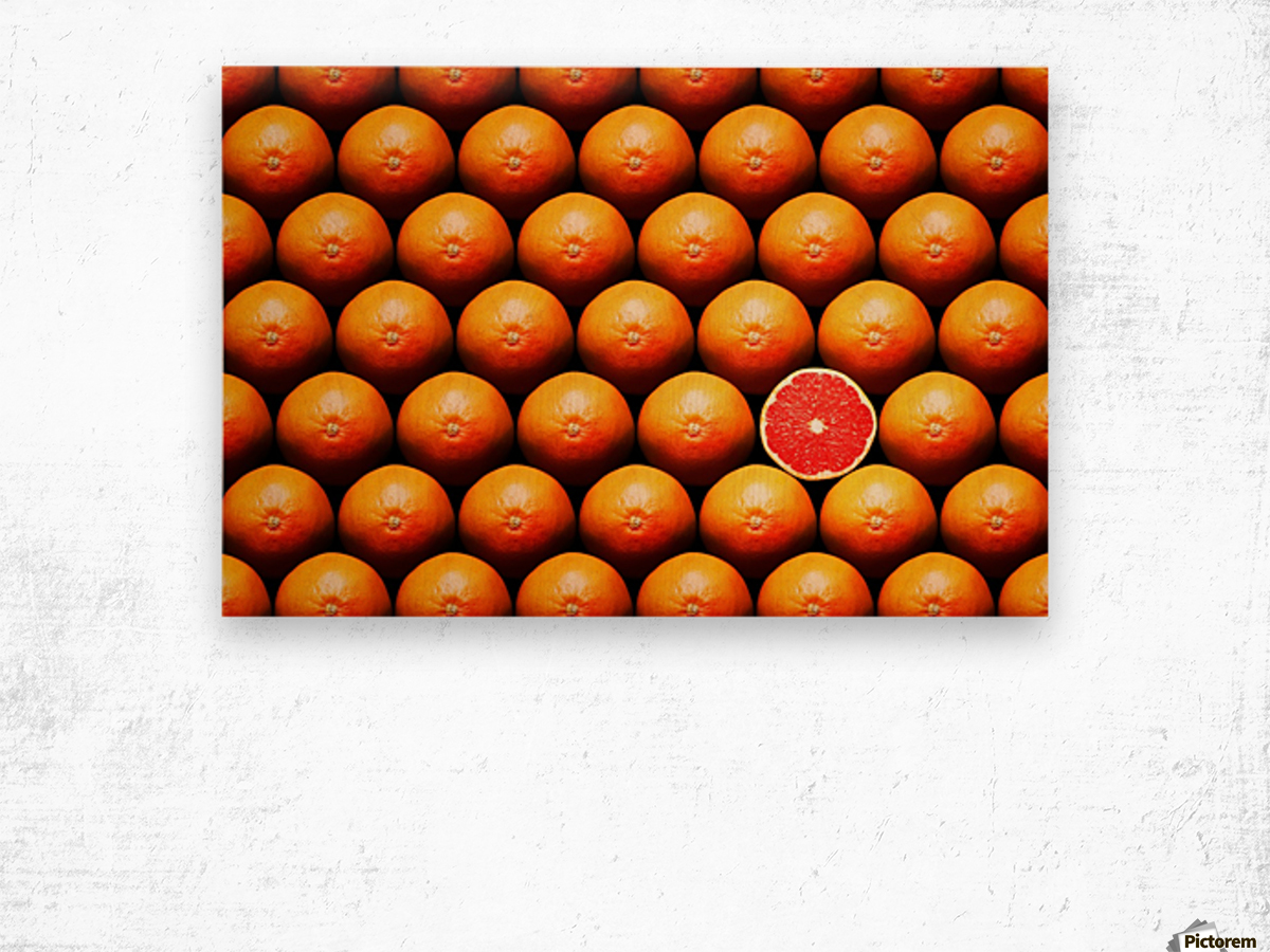 Grapefruit slice between group Wood print